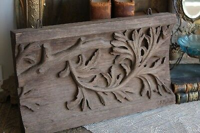 An Unusual Antique Vintage French Hand Carved Wooden Panel Apprentice Piece