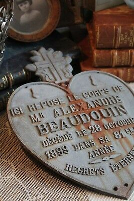 An Antique FRENCH HEART SHAPE Metal MEMORIAL PLAQUE Dated 1899