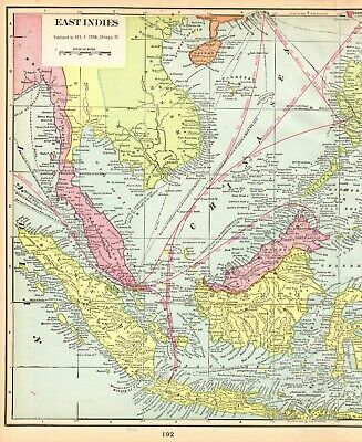1902 Antique EAST INDIES Map Pacific Islands Map Philippines Borneo Map #4990
