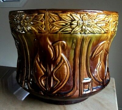 "Antique Arts & Crafts Mission PLANTER Majolica Pottery  BIG 12""Diameter X 10""H"