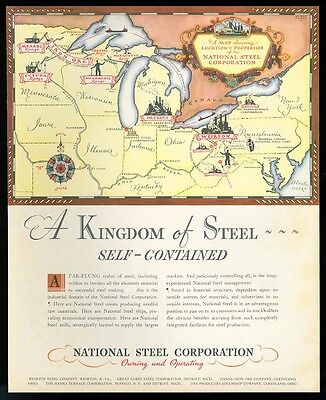 1934 National Steel USA properties locations map vintage print ad