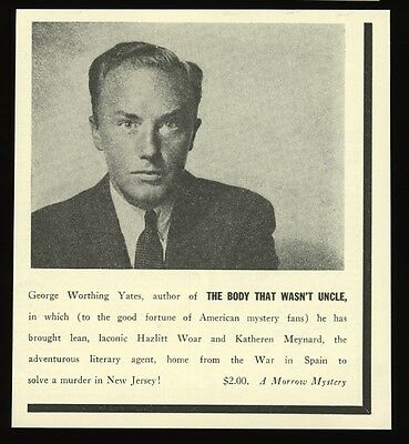 1939 George Worthing Yates photo The Body That Wasn't Uncle book release ad