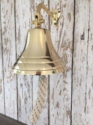 "5"" Deluxe Brass Ship Bell w/ Rope Lanyard ~ Nautical Maritime Wall Decor"