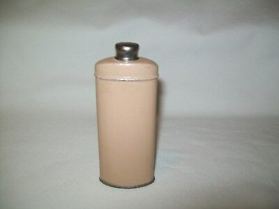 """Vintage Talcum Powder Tin 4 ¼"""" high Container Unknown Maker Old Can 1/4 Full"""