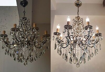 A Pair of Antique 8 Arms Brass & Crystals HUGE Chandeliers from 1950's