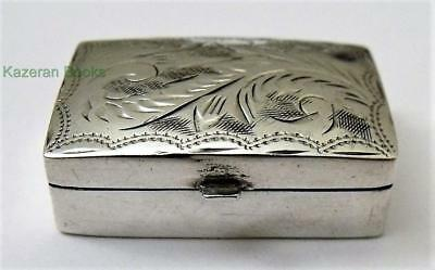 Vintage Solid Sterling Silver Hallmarked Hand Chased Pill Box 1989 Ari D Norman
