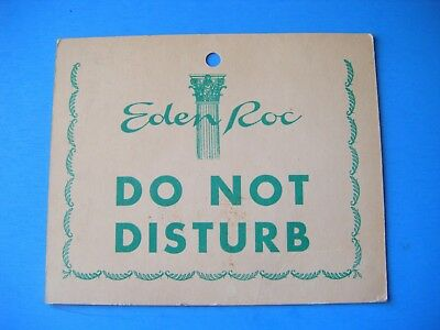 Vintage Ultra Rare 1950's Eden Roc Hotel Miami Beach Cardboard Door Hanger Sign
