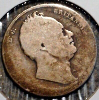 British Silver Half Crown - 1834 - King William IV - $1 Unlimited Shipping