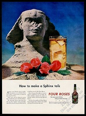 1945 Egypt Sphinx photo Four Roses whiskey vintage print ad
