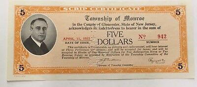 April 1934 1930' s New Jersey Scrip Township Of Monroe