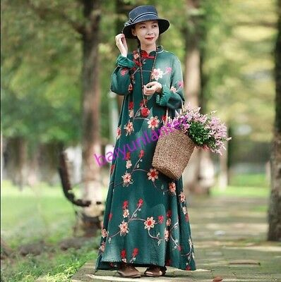 Womens Floral Pattern Casual Loose Chinese Retro Style Full Long Dress Hot Sale