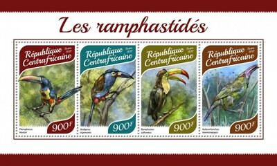 Central Africa - 2017 Toucans Birds - 4 Stamp Sheet - CA17915a