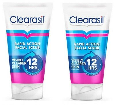2 Tubes x Clearasil Rapid Action Scrub 125ml Spot Fighting Cleanser FREEPOST