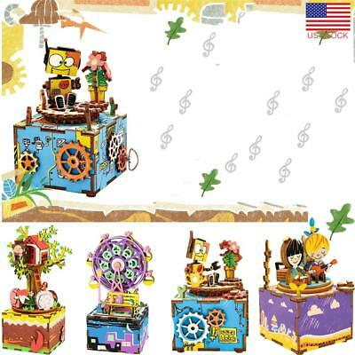 3D Wooden DIY Puzzle Music Robotic Wooden Musical Boxes For Kid Birthday Gift US
