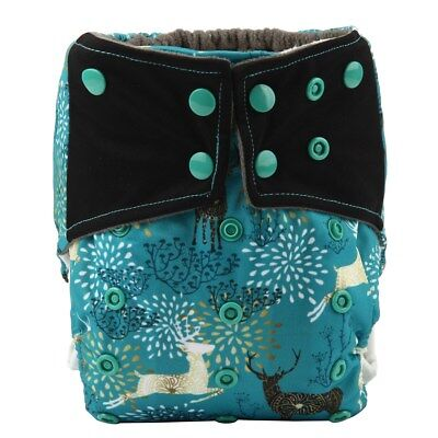 Baby Cloth Diaper Nappy Bamboo Charcoal Reusable Gussets Regal Deer