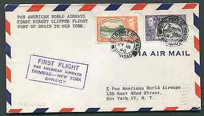 TRINIDAD: (14414) FFC/First Flight Pan-Am to New York cancel/cover