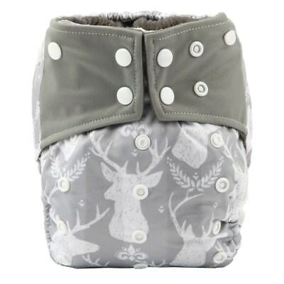 Baby Cloth Diaper Nappy Cover Bamboo Charcoal Reusable Gussets Gey Deer