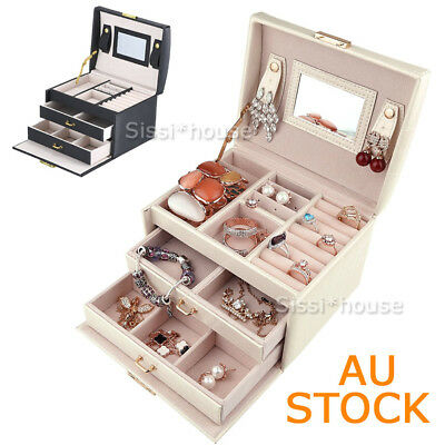 NEW Jewellery Storage Box Watch Case Rings Necklaces Display Organizer PULeather