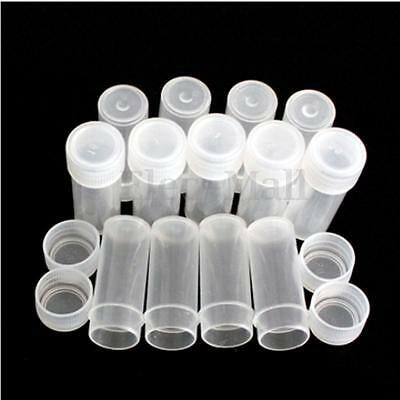 20/40/100x 5ml Chemistry Plastic Test Tubes Vials with Seal Caps Pack Container