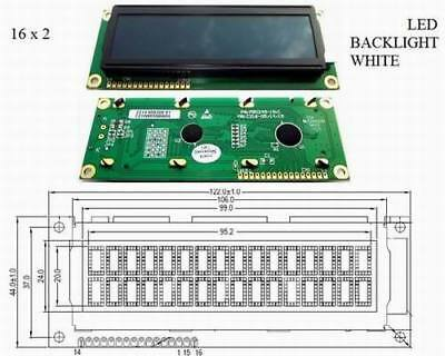 CTC LCD Display 2 x 16 Characters 16 Pins mit LED BACKLIGHT WHITE 1 Stück
