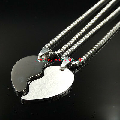 Couple Jewelry Stainless steel Love Heart Pendant Box Chain Necklace one pair