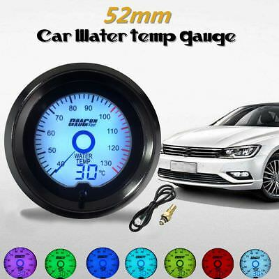 Universal 2'' 52mm Car Water Temp Gauge Digital LED Light Dual Display 7 Colors