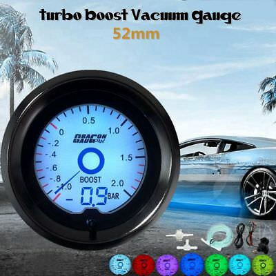 Universal 2'' 52mm BAR Turbo Boost Gauge Digital LED Light Dual Display 7 Colors