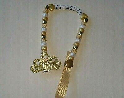 Baby Girl/boy Gold Crown Bling Personalised Dummy Saver Holder Clip