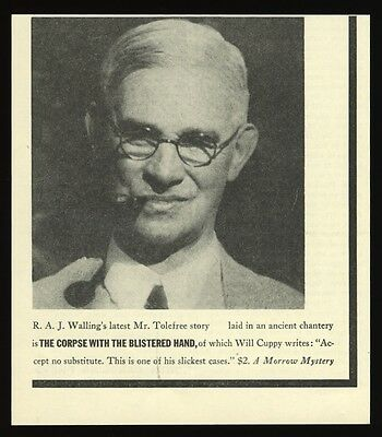 1939 R.A.J. Walling photo The Corpse with the Blistered Hand book print ad
