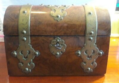 19thC Antique DOME TOP Old BURL WOOD Treasure Chest BRASS Ormolu TEA CADDY BOX