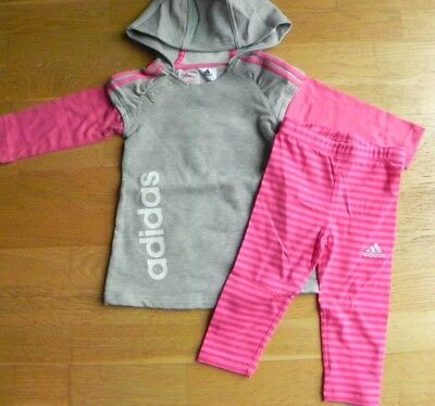 Adidas► 2-Teiler  Sport Set ►Sweat Shirt Pulli + Leggings Pink Grau►80-104►Neu