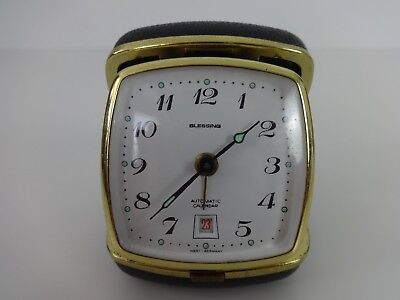 Vintage Travel Alarm Clock Blessing West German Auto Calendar Black Gold Folding