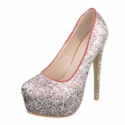 Trendy Pumps Damen Schuh Glitter Plateau High Heels Stiletto 5365 Pink Silber 35
