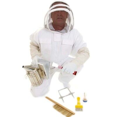 Beekeeping Fencing Suit Gloves Smoker Complete Starter Tool Kit