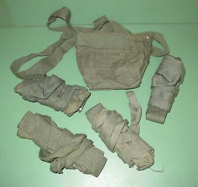 Lot of 5 Vietnam Era US Military Issue OD Green Ammo Bandolier Pouch Linked 7.62