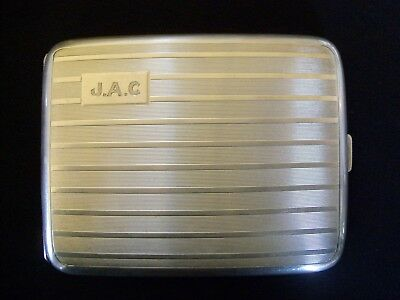 Vtg Birks Sterling Silver Cigarette Case Monogrammed JAC Striped