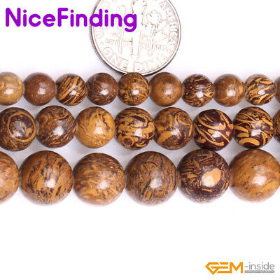 "Natural Elephant Skin Yellow Jasper Stone Beads For Jewelry Making Strand 15"" NF"