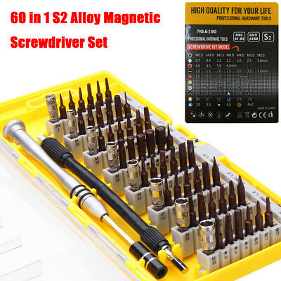 60 in 1 S2 Precision Screwdriver Tool Alloy Magnetic Steel Nutdriver Bit Repair