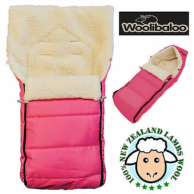 Woolibaloo Pink 100% New Zealand Lambswool Pushchair Footmuff Cosytoes