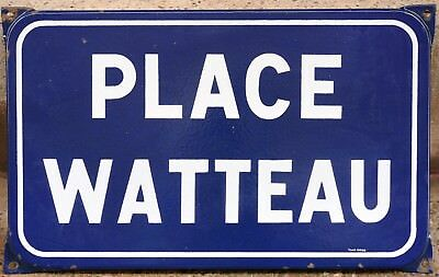 Old blue French enamel street sign road plaque plate name Antoine Watteau Nimes