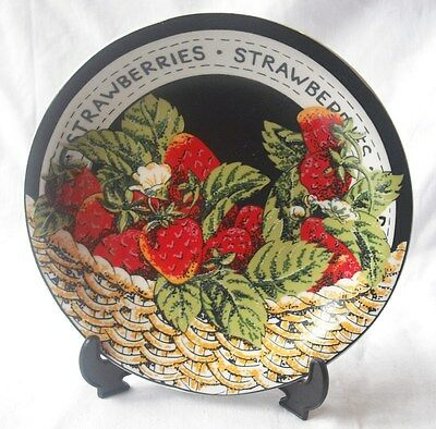 """New Regency Fine Porcelain 8"""" Fruit Plate With Display Stand Strawberry Box Dmg"""