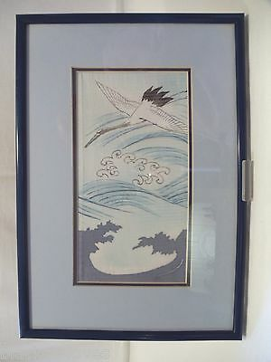 Japanese Antique Boy's Kimono Silk Panel Hand Painted With Cranes /waves Framed