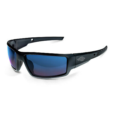 Crossfire Safety Glasses Cumulus Blue Mirror Lens, Matte Black Frame Sunglasses