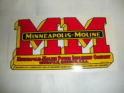 "Minneapolis Moline Decal 5 "" x 9 1/2 "" NEW FREE SHIPPING"