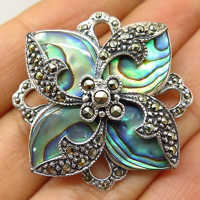 Signed 925 Silver Real Abalone Shell Marcasite Gem Floral Pin Brooch Pendant
