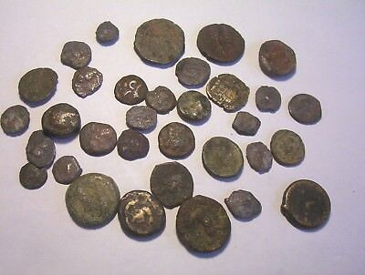Group of Ancient Greek bronze coins .  c. 4th century B.C.