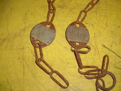 2 Vintage Brass Cow Number Tag Dairy Farm Cattle #50 Double Sided Original-Chain