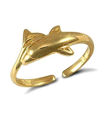 New Hallmarked Ladies Solid 9ct Yellow Gold Dolphin Wrap Toe Ring RRP £94