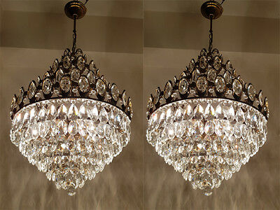 A Pair of Antique French Basket Style Brass & Crystals HUGE Chandeliers from 195