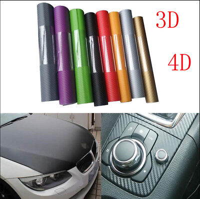3D 4D Carbon Fiber Matte Vinyl Car Wrap Sheet Roll Film Sticker Decal 127*60CM